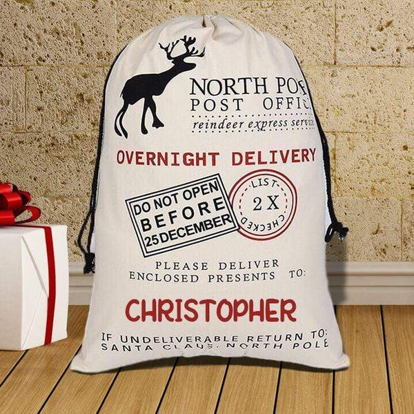 North Pole Post Office (CUSTOM) Overnight Delivery Santa Sack BLINGZ