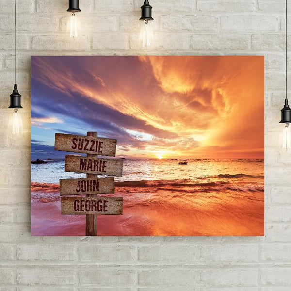 Personalized Beach Boat Sunset Premium Canvas
