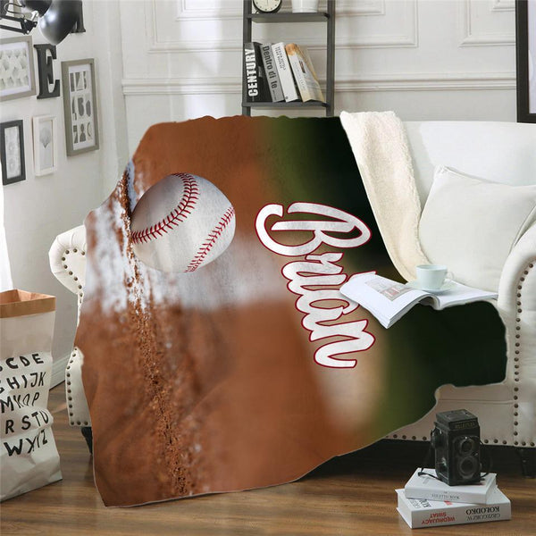 Personalized Baseball Sherpa Blanket Blankets Lemons Are Blue