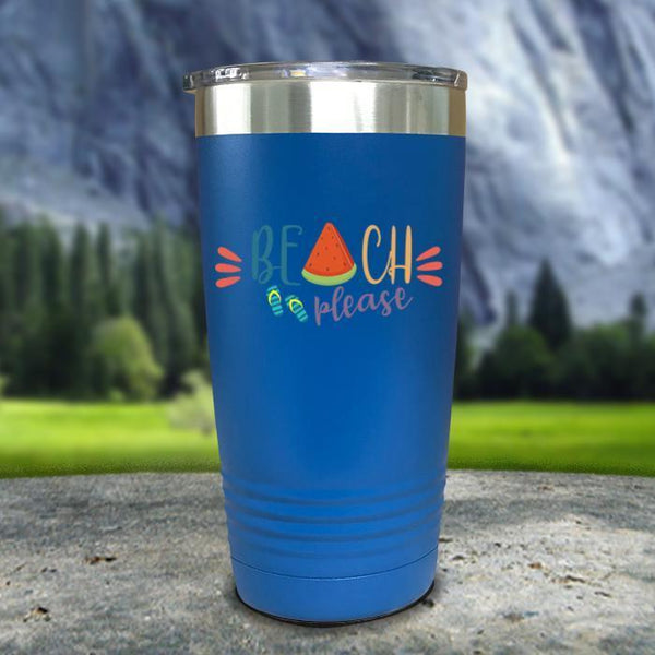 Beach Please Color Printed Tumblers Tumbler Nocturnal Coatings 20oz Tumbler Blue