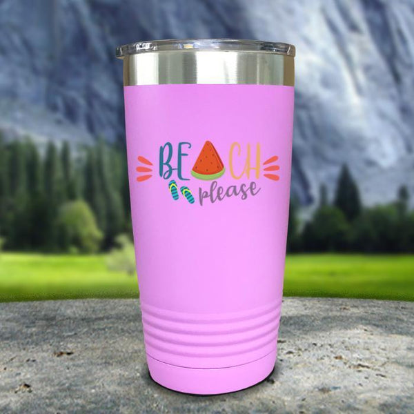Beach Please Color Printed Tumblers Tumbler Nocturnal Coatings 20oz Tumbler Lavender