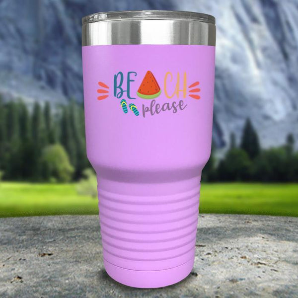 Beach Please Color Printed Tumblers Tumbler Nocturnal Coatings 30oz Tumbler Lavender