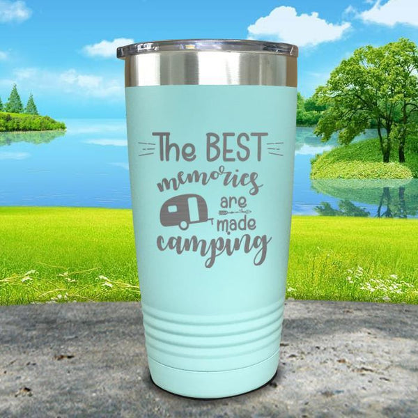 Best Memories Are Made Camping Engraved Tumbler Tumbler ZLAZER 20oz Tumbler Mint