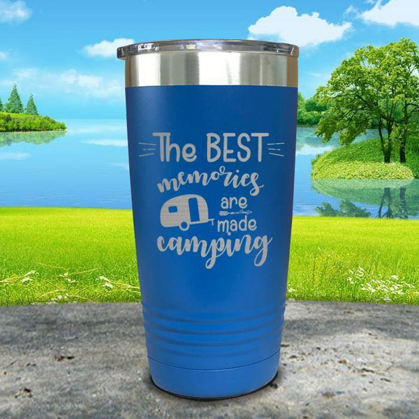 Best Memories Are Made Camping Engraved Tumbler Tumbler ZLAZER 20oz Tumbler Blue