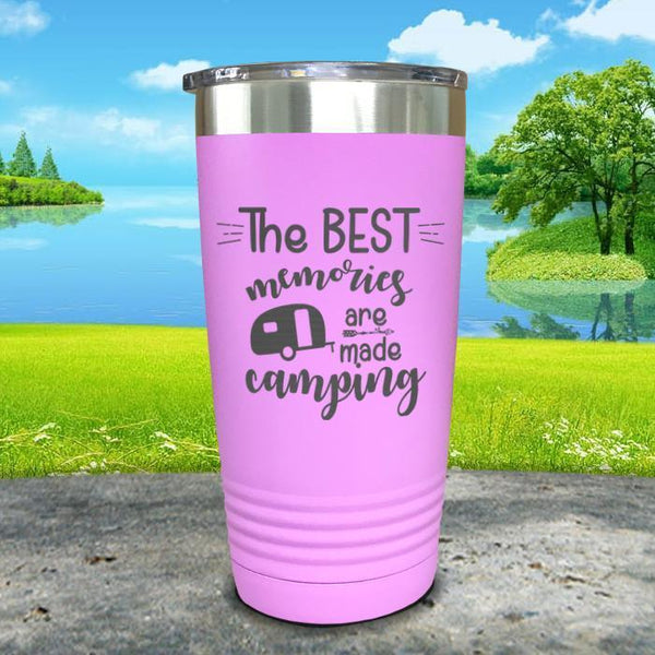 Best Memories Are Made Camping Engraved Tumbler Tumbler ZLAZER 20oz Tumbler Lavender