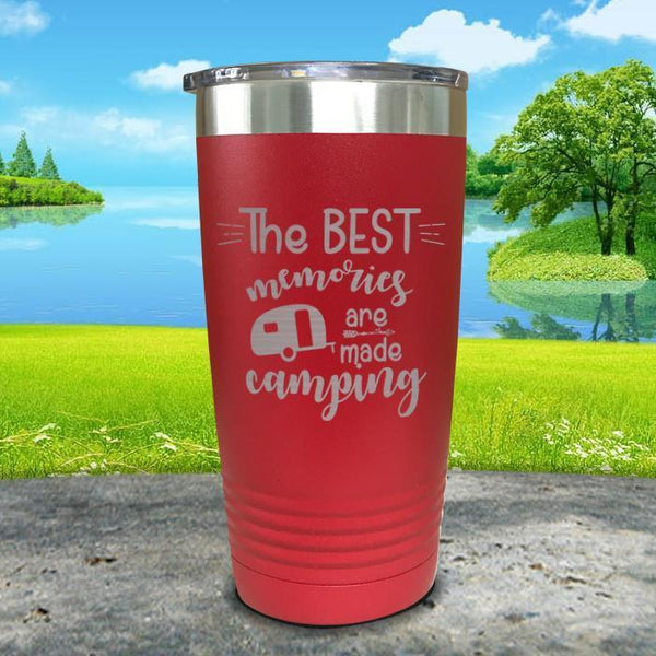 Best Memories Are Made Camping Engraved Tumbler Tumbler ZLAZER 20oz Tumbler Red