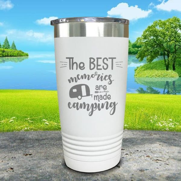 Best Memories Are Made Camping Engraved Tumbler Tumbler ZLAZER 20oz Tumbler White