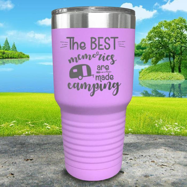 Best Memories Are Made Camping Engraved Tumbler Tumbler ZLAZER 30oz Tumbler Lavender