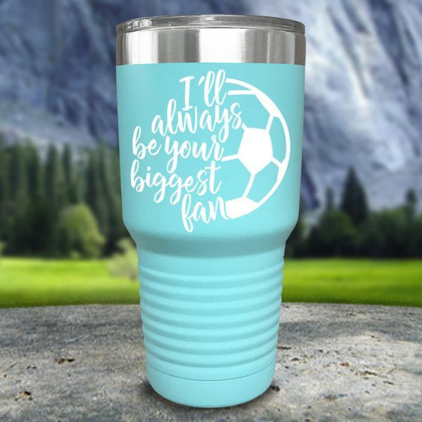 Always her Biggest Fan Soccer Color Printed Tumblers Tumbler Nocturnal Coatings 30oz Tumbler Mint