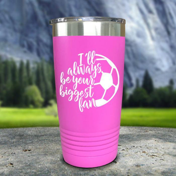 Always her Biggest Fan Soccer Color Printed Tumblers Tumbler Nocturnal Coatings 20oz Tumbler Pink