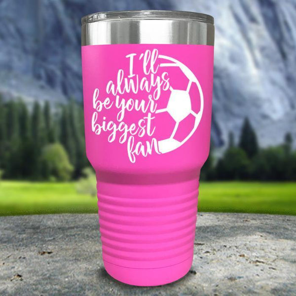Always her Biggest Fan Soccer Color Printed Tumblers Tumbler Nocturnal Coatings 30oz Tumbler Pink