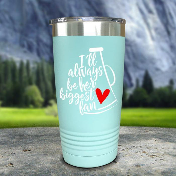 Always Her Biggest Fan Cheer Color Printed Tumblers Tumbler Nocturnal Coatings 20oz Tumbler Mint