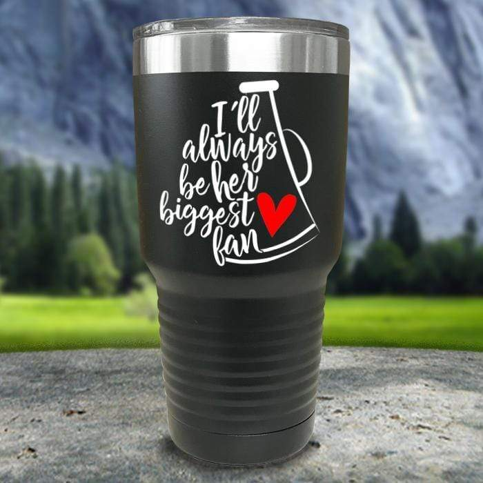 Cheer Always Biggest Fan Color Printed Tumblers Tumbler Nocturnal Coatings 30oz Tumbler Black