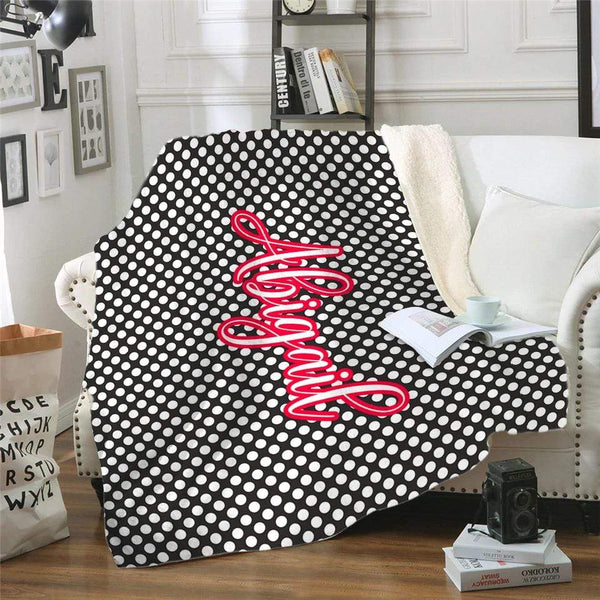 Polka Dots Personalized Sherpa Blanket