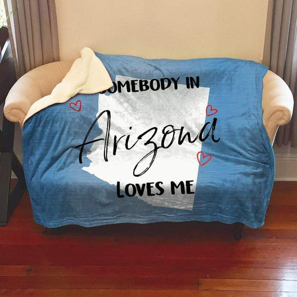 Somebody Loves Me (CUSTOM) Sherpa Blanket Blankets CustomCat Arizona