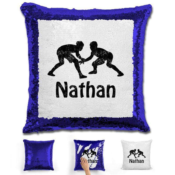 Wrestling Personalized Magic Sequin Pillow Pillow GLAM Blue Black