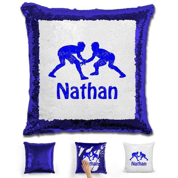 Wrestling Personalized Magic Sequin Pillow Pillow GLAM Blue Blue