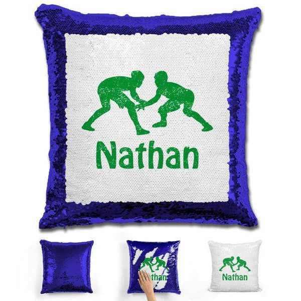 Wrestling Personalized Magic Sequin Pillow Pillow GLAM Blue Green