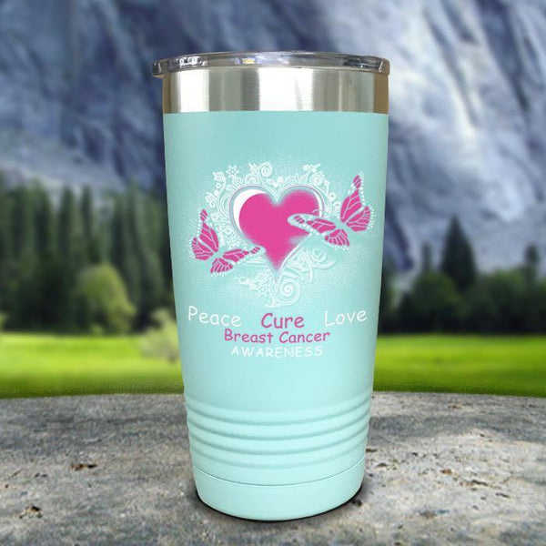 Breast Cancer Peace Cure Love Printed Tumblers Tumbler Nocturnal Coatings 20oz Tumbler Mint