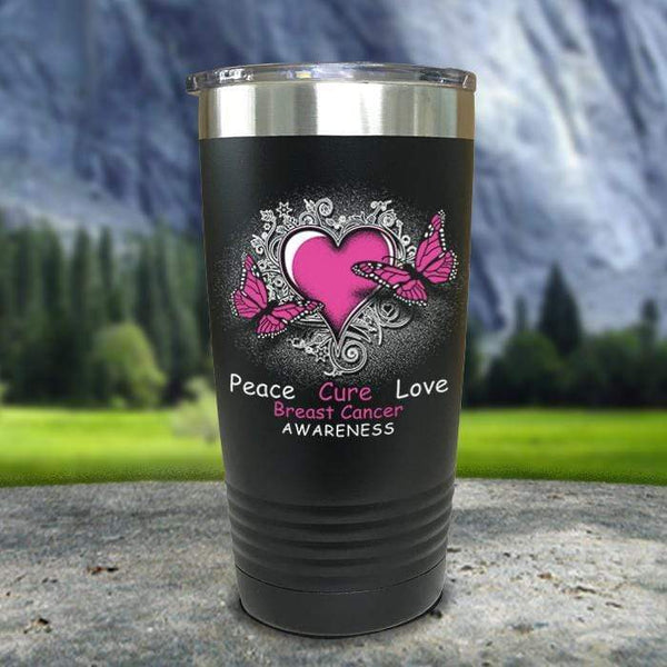 Breast Cancer Peace Cure Love Printed Tumblers Tumbler Nocturnal Coatings 20oz Tumbler Black