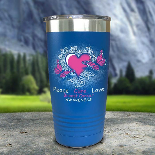 Breast Cancer Peace Cure Love Printed Tumblers Tumbler Nocturnal Coatings 20oz Tumbler Blue