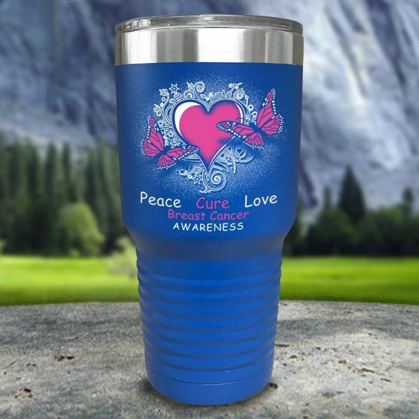 Breast Cancer Peace Cure Love Printed Tumblers Tumbler Nocturnal Coatings 30oz Tumbler Blue