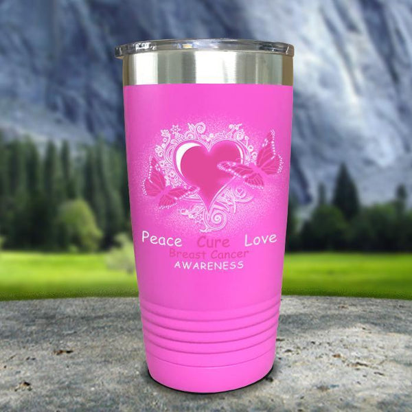 Breast Cancer Peace Cure Love Printed Tumblers Tumbler Nocturnal Coatings 20oz Tumbler Pink