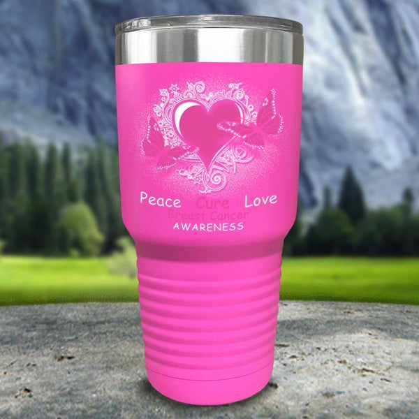 Breast Cancer Peace Cure Love Printed Tumblers Tumbler Nocturnal Coatings 30oz Tumbler Pink
