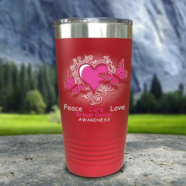 Breast Cancer Peace Cure Love Printed Tumblers Tumbler Nocturnal Coatings 20oz Tumbler Red