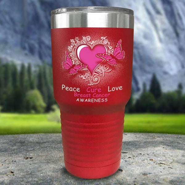 Breast Cancer Peace Cure Love Printed Tumblers Tumbler Nocturnal Coatings 30oz Tumbler Red