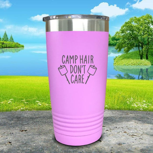 Camp Hair Don't Care Engraved Tumbler Tumbler Nocturnal Coatings 20oz Tumbler Lavender