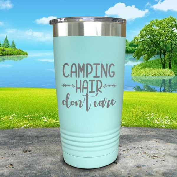 Camping Hair Don't Care Engraved Tumbler Tumbler ZLAZER 20oz Tumbler Mint