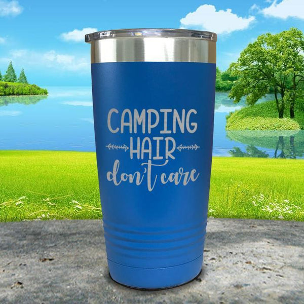 Camping Hair Don't Care Engraved Tumbler Tumbler ZLAZER 20oz Tumbler Blue