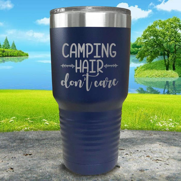 Camping Hair Don't Care Engraved Tumbler Tumbler ZLAZER 30oz Tumbler Navy