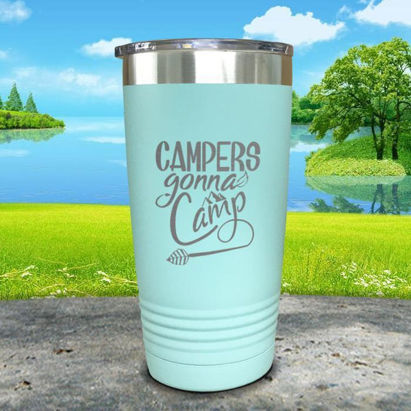 Campers Gonna Camp Engraved Tumbler Tumbler ZLAZER 20oz Tumbler Mint