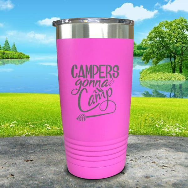 Campers Gonna Camp Engraved Tumbler Tumbler ZLAZER 20oz Tumbler Pink