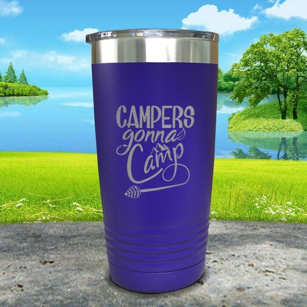 Campers Gonna Camp Engraved Tumbler Tumbler ZLAZER 20oz Tumbler Royal Purple