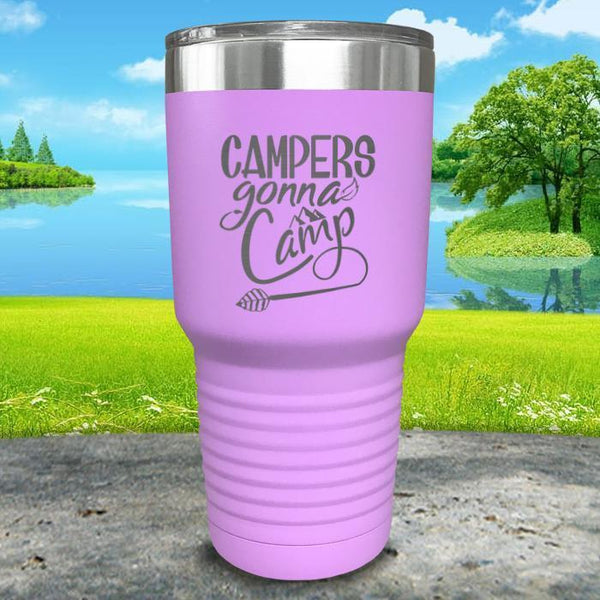 Campers Gonna Camp Engraved Tumbler Tumbler ZLAZER 30oz Tumbler Lavender