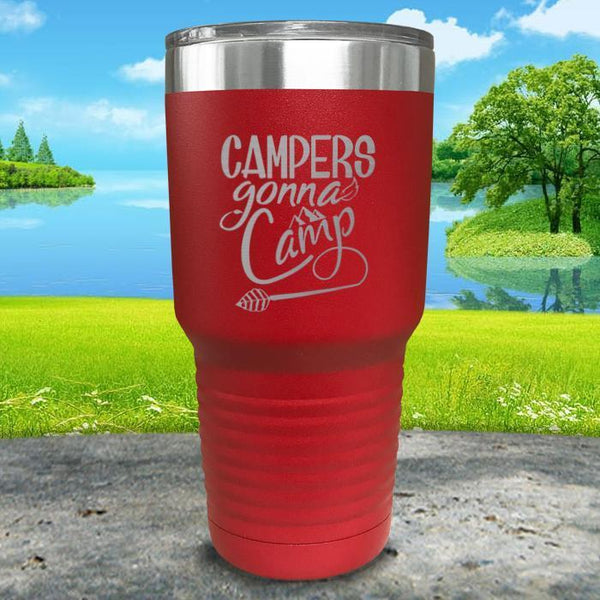Campers Gonna Camp Engraved Tumbler Tumbler ZLAZER 30oz Tumbler Red
