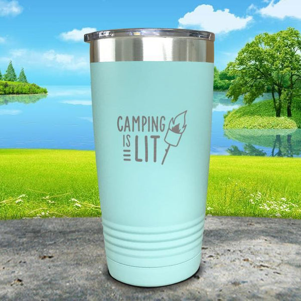 Camping Is Lit Engraved Tumbler Tumbler Nocturnal Coatings 20oz Tumbler Mint