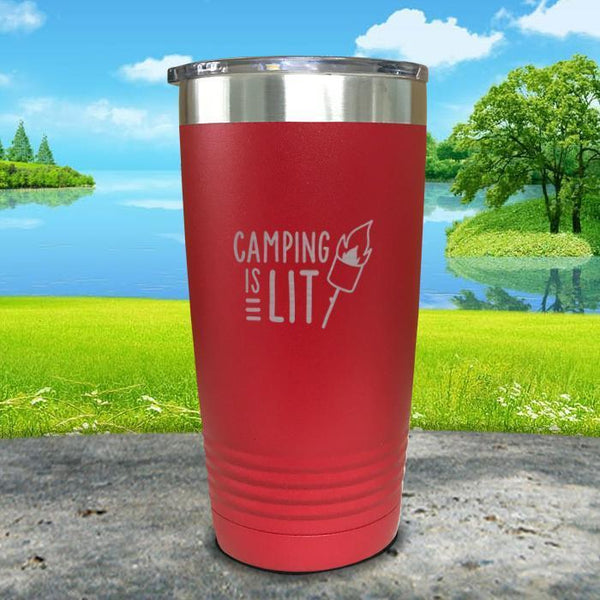 Camping Is Lit Engraved Tumbler Tumbler Nocturnal Coatings 20oz Tumbler Red