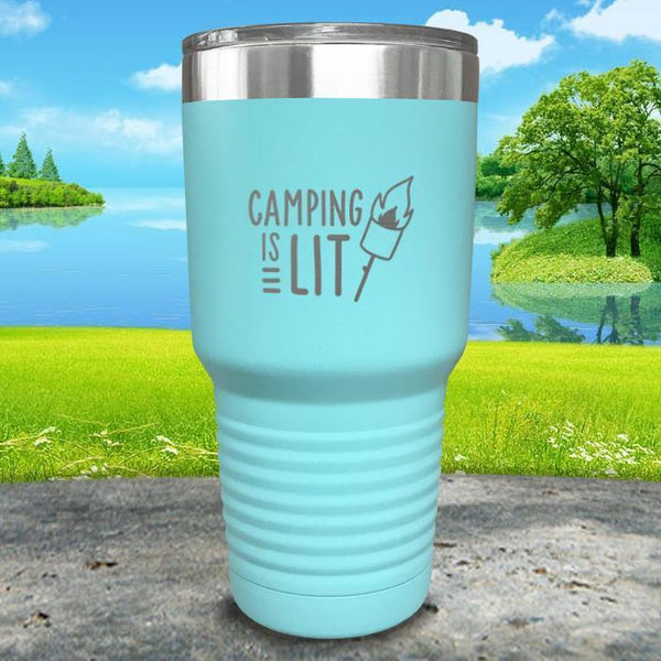 Camping Is Lit Engraved Tumbler Tumbler Nocturnal Coatings 30oz Tumbler Mint