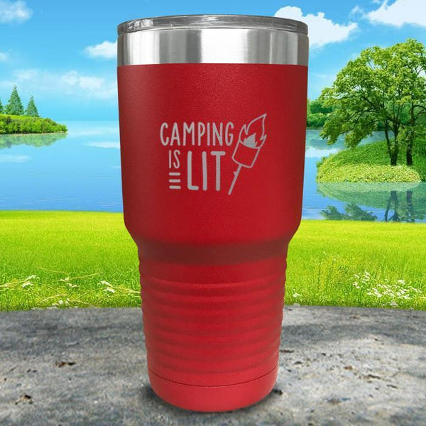 Camping Is Lit Engraved Tumbler Tumbler Nocturnal Coatings 30oz Tumbler Red