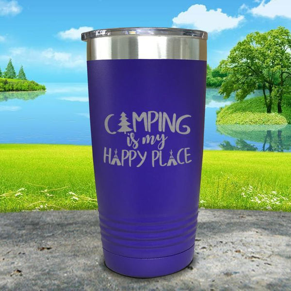 Camping Is My Happy Place Engraved Tumbler Tumbler ZLAZER 20oz Tumbler Royal Purple