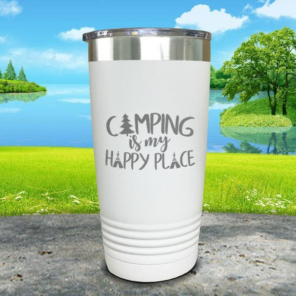 Camping Is My Happy Place Engraved Tumbler Tumbler ZLAZER 20oz Tumbler White