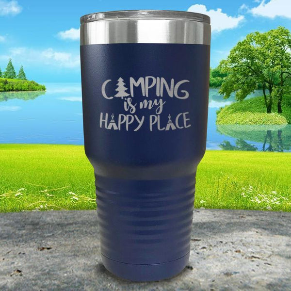 Camping Is My Happy Place Engraved Tumbler Tumbler ZLAZER 30oz Tumbler Navy
