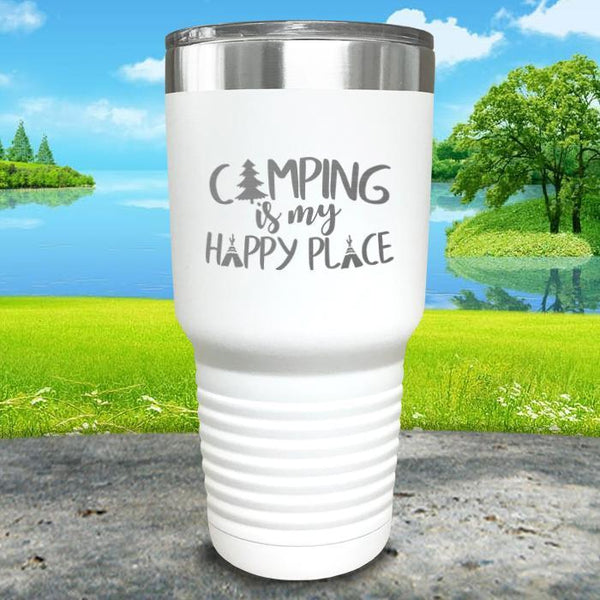Camping Is My Happy Place Engraved Tumbler Tumbler ZLAZER 30oz Tumbler White