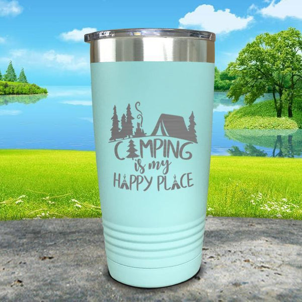 Camping Is My Happy Place Engraved Tumbler Tumbler ZLAZER 20oz Tumbler Mint