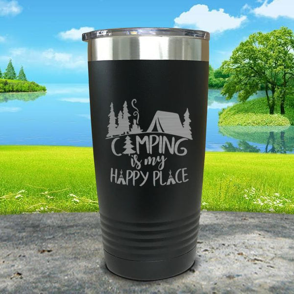 Camping Is My Happy Place Engraved Tumbler Tumbler ZLAZER 20oz Tumbler Black