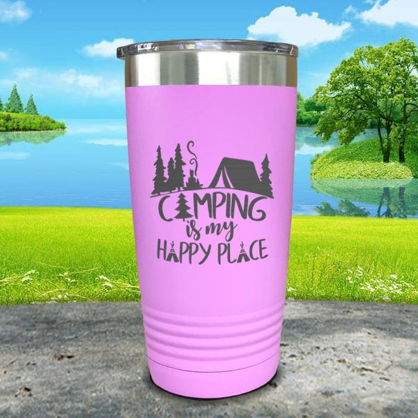 Camping Is My Happy Place Engraved Tumbler Tumbler ZLAZER 20oz Tumbler Lavender